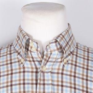 Canali Brown/Blue Check Button Down Shirt
